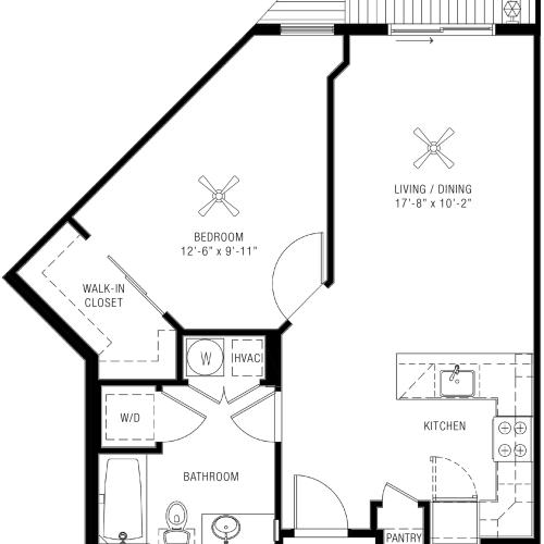 One Bedroom Floorplan | Majestic 6