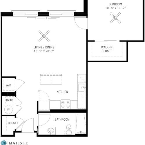 One Bedroom Floorplan | Majestic 5