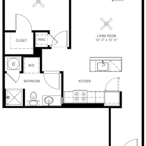One Bedroom Floorplan | Majestic 2
