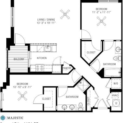Spacious Two Bedroom Apartments | Majestic 4