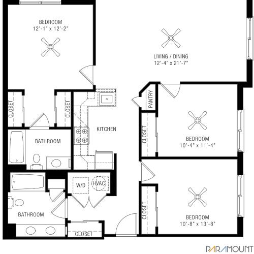 3 Bedroom Apartments | Paramount