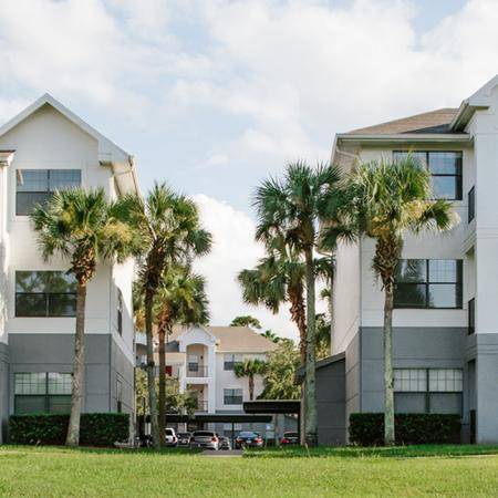 1800 The Ivy, exterior, white and gray buildings, three levels, balconies, palm trees, grass, cars