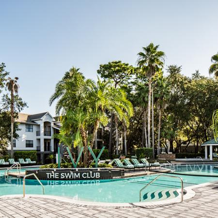 "1800 The Ivy, exterior, sparkling blue swimming pool, sign ""The Swim Club"", palm trees, trees, lounge chairs, building exterior"