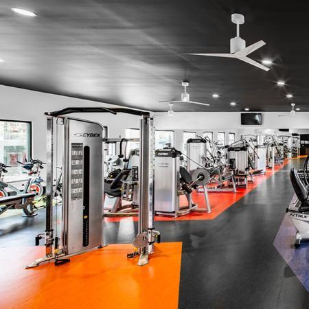 1800 The Ivy, interior, fitness center, black, orange, and purple flooring, ceiling fans, large windows, weight machines, elliptical, treadmills