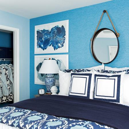1810 The Social, interior, bedroom, blue and white decor, bed, mirror, night stand, lamp, wall decor, closet