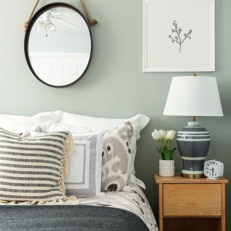 1810 The Social, interior, bedroom, grays and whites, bed, night stand, mirror