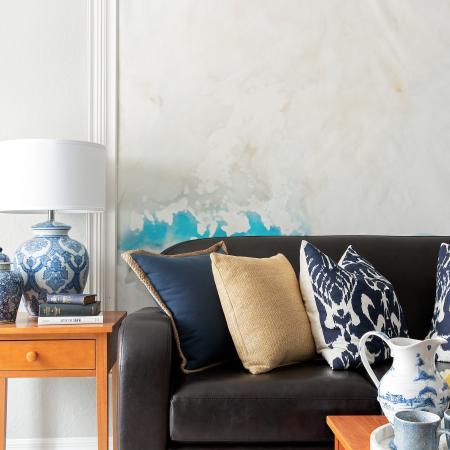 1810 The Social, interior, living room, black, tan, blue and red decor, sofa