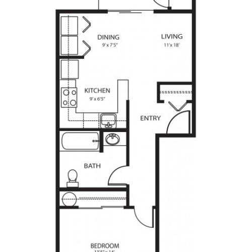 1 bedroom 1 bath, 562 sq ft