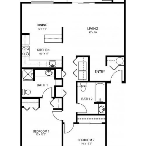 2 bedroom 2 bath, 1058 sq ft
