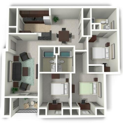 3 Bedroom Floor Plan | Student Apartments Near Mtsu | Vie at Murfreesboro