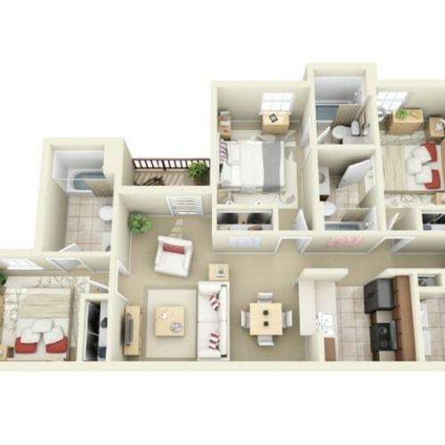 3 Bedroom Floor Plan | Apartments Near Centennial Campus Ncsu | Vie at Raleigh