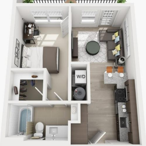 1 Bdrm Floor Plan | texas state university housing | Vie Lofts at San Marcos