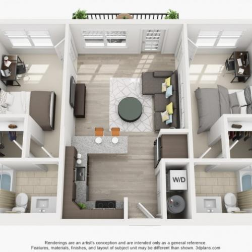 2 Bedroom Floor Plan | Apartments Near Tsu | Vie Lofts at San Marcos