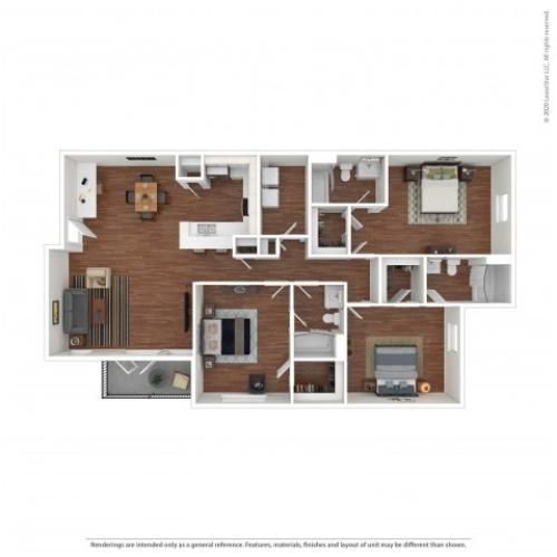 3 Bedroom Floor Plan | Ua Housing Off Campus | Vie at University Downs