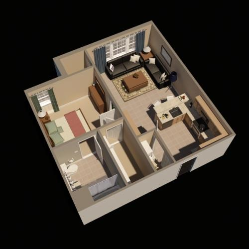 Timbers One Bedroom Virtual Floor Plan | Fort Drum Apartments