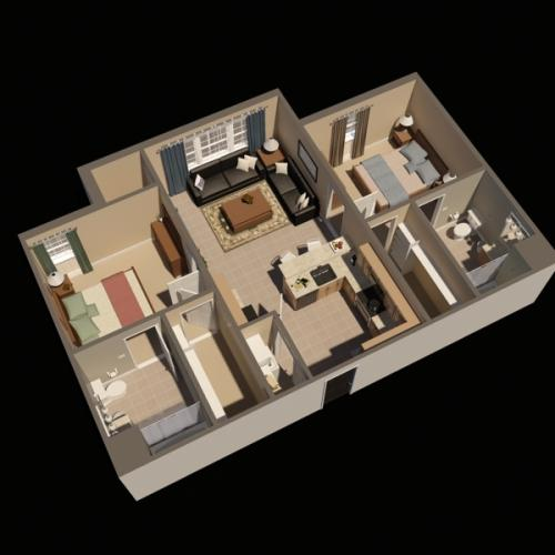 Timbers Two Bedroom Virtual Floor Plan | Fort Drum Apartments