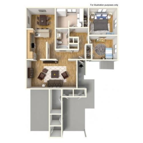 2-Bedroom Floor Plan | Apartment Style Home | 950 square feet | Promotional Rate