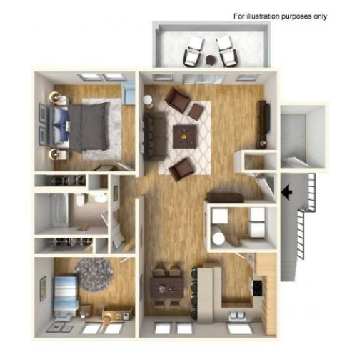 2-Bedroom Floor Plan | Apartment Living | Promotonal Rate