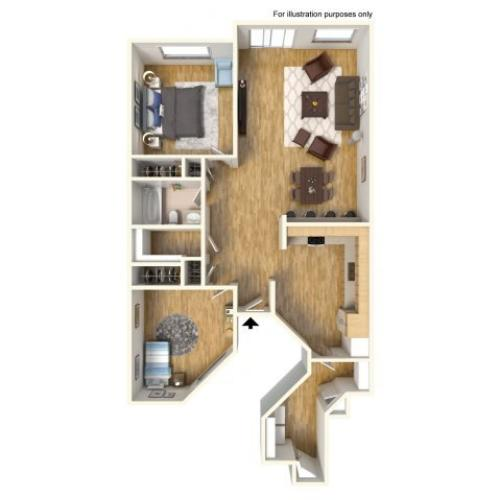 2-Bedroom floor plan in Helemano, single story, 2 bedrooms, 1 bath, 990 sq ft.