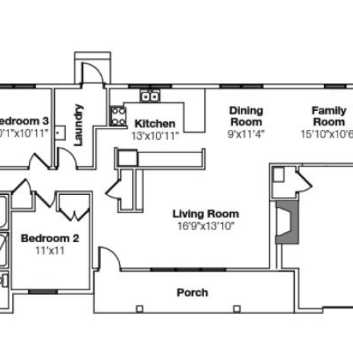 4 Bedroom Floor Plan | camp lejeune rental homes | Atlantic Marine Corps Communities at Camp Lejeune