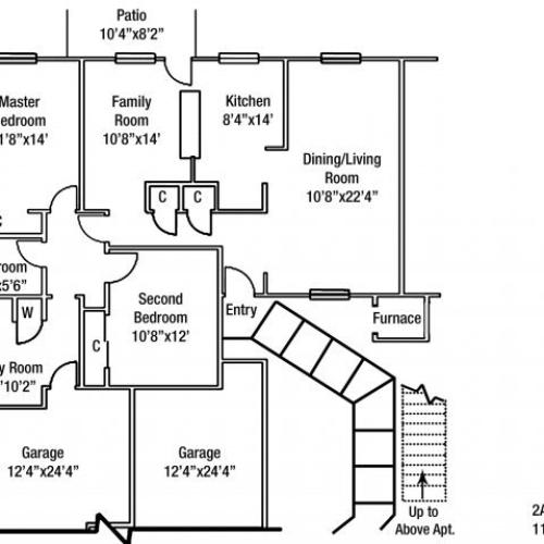 Two bedroom JNCO Floor plan | fort drum housing