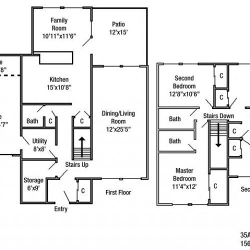 Four bedroom JNCO floor plan | fort drum housing