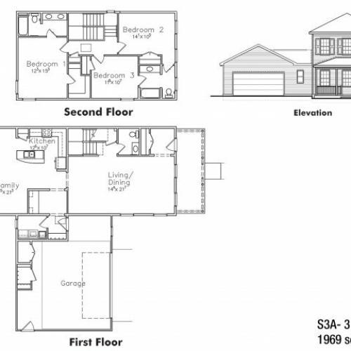 Three bedroom SNCO floor plan | fort drum housing