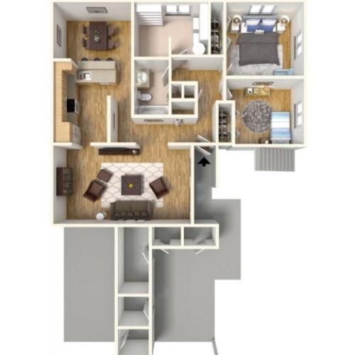 2-bedroom apartment style homes in HMR, 3D floor plan