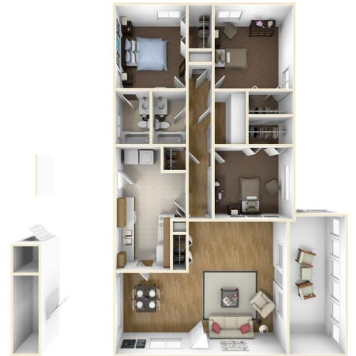 Laurel Bay Greer I 3D Floor Plan