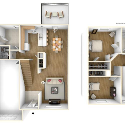 Slocum Village Adams Townhome 3D Floor Plan
