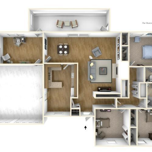Laurel Bay Barnett 3D Floor Plan