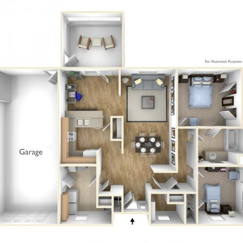 2 Bdrm Floor Plan | camp lejeune housing | Atlantic Marine Corps Communities at Camp Lejeune