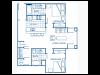 A blueprint of a two bedroom floor plan.