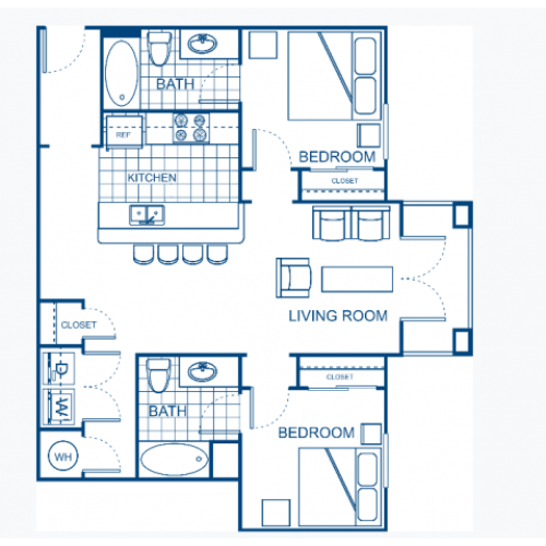 A blueprint of a two bedroom floor plan.