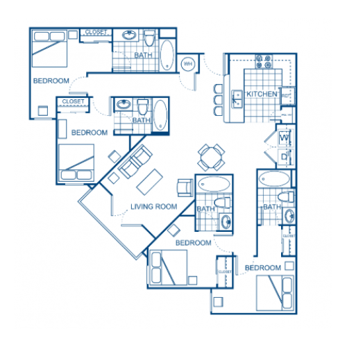 A blueprint of a four bedroom apartment.