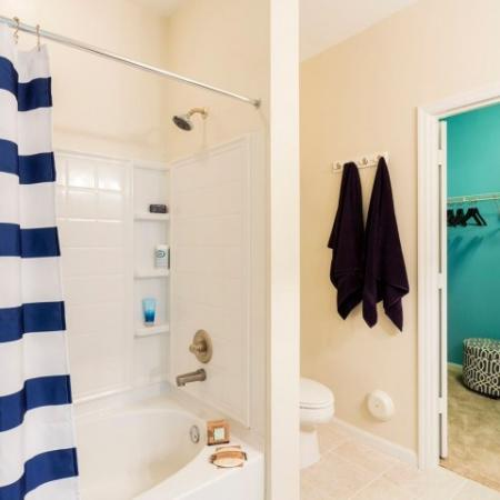 Cabana West Apartments interior: bathroom view of shower and walk in closet