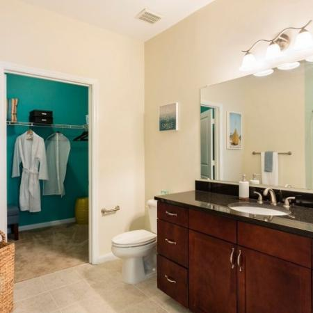 Cabana West Apartments interior:bathroom with large mirror with mirror, walk in closet
