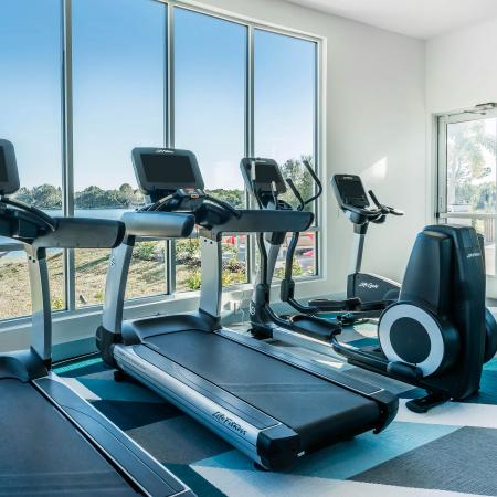Work out room with a few exercising machines in front of a long glass window. Different blue checkered rug under the machines and a ball rack for heavy work out balls to the right of the machines against a mirror.