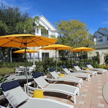 Grandeville at River Place Exterior | Outdoor pool | Pool chairs | Umbrellas
