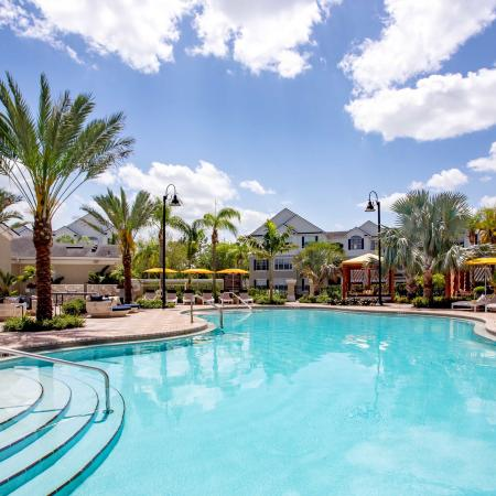 Grandeville at River Place Exterior | Outdoor pool | Palm trees | Blue skies