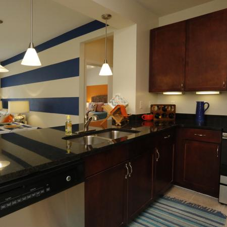 Cabana West Apartments interior: another view of the kitchen area with the sink and dishwasher