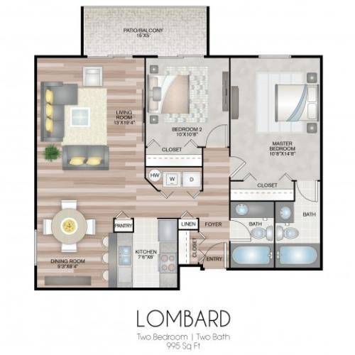 2 bedroom and 2 full baths featuring spacious living and dining room, open kitchen, washer and dryer, and a patio or balcony.