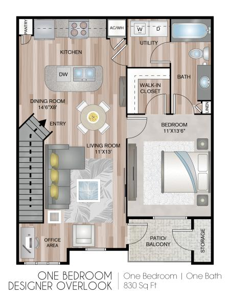 One Bedroom Designer with Garage