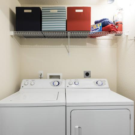 Harbortown Luxury Apartments, interior, laundry room, washer, dryer, wire shelves, black, blue, red boxes