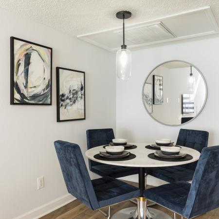 Dining area with four dark blue chairs against a white circle table set with bowls and silverware. Two picrtures of art on the wall adjacent to a circle mirror. One ceiling light hanging above the table.