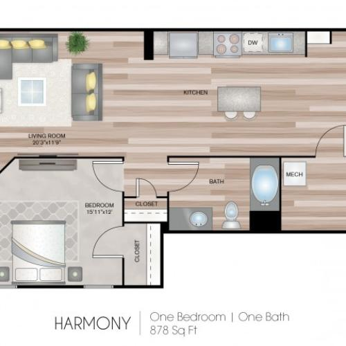 1 Bed Floor Plan