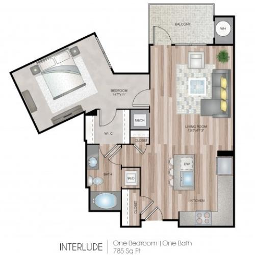 1 Bdrm Floor Plan