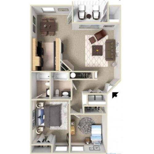 Gold A 3D Floor Plan