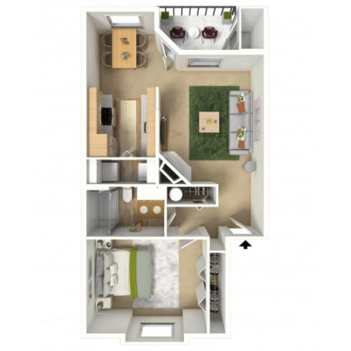 Copper 3D Furnished Floor Plan