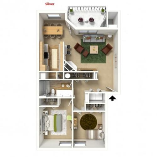 Silver 3D furnished floor plan